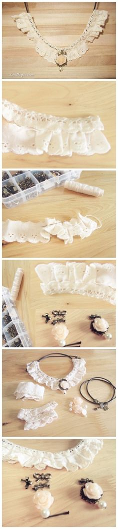 diy necklace lace and resin rose