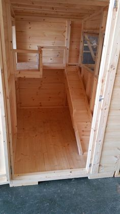 Inside Of a Bespoke Handmade Rabbit shed Including a Shelf leading onto a balcony and a Bunny Save Ramp. Handmade By The Lads at Boyles pet housing.