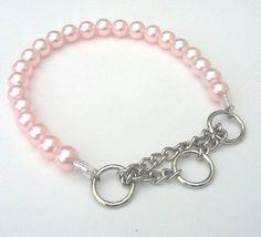 Chunky Pink Pearl Dog Collar Buckle Collars by BeadieBabiez