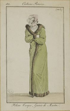1812 Costume Parisien. Turkish pelisse, trimmed with marten (fur).