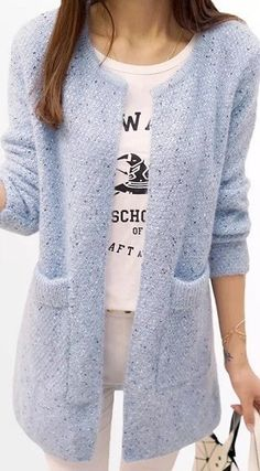 Одноклассники – Knitting patterns, knitting designs, knitting for beginners. Crochet Cardigan, Knit Crochet, Look 2018, Creative Knitting, Knitted Coat, Casual Chic Style, Knit Fashion, Crochet Clothes, Cardigans For Women