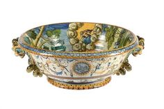 Lot 246 - A Cantagalli two-handled basin for a ewer, late 19th century  A Cantagalli two-handled basin for a