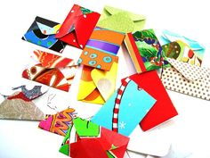 24 miniature paper tiny envelopes solid color upcycled by Wcards, $4.50