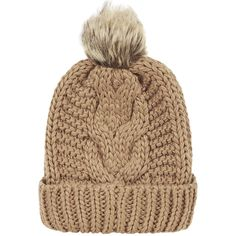 Chicnova Fashion Turn Up Beanie ($8.90) ❤ liked on Polyvore featuring accessories, hats, beanie, cable beanie, beanie cap, cable hat, brimmed hats and cable knit pom pom hat