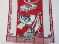 pictures of old tea towels | Vintage Tea Towel Kitchen Appliances by NeatoKeen on Etsy