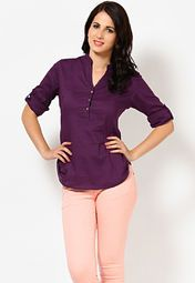 3/4Th Roll-Up Sleeve Mandarin Collar Solid Purple Cotton Top