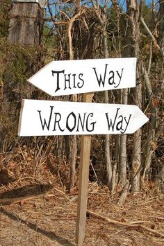 ALICE IN WONDERLAND Wedding Signs. Party Sign This Way -  Wrong Way 2 Directional Arrow Signs With Stake. Wooden Signs.  Black and White. $75.00, via Etsy.