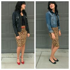 Ways to wear a leopard pencil skirt, graphic tee, denim jacket, black flats, leather biker jacket, red belt, red heels,