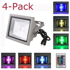 4-Pack LOFTEK® 50W Waterproof Outdoor Security LED Flood Light Spotlight High Powered RGB Color Change(16 Different Color Tones) with Plug and Remote Control AC85V-265V, with 1 meter power plug, 850WFL - - Amazon.com