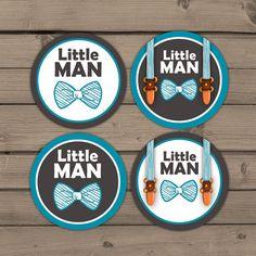 Little man Cupcake toppers Baby shower door Anietillustration