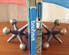 Vintage Large Pair of Cast Iron Jacks - Bookends Paperweight