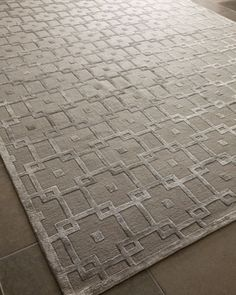 """Silver Blocks"" Rug by Exquisite Rugs at Neiman Marcus.   Love how neutral and yet interesting this is!"