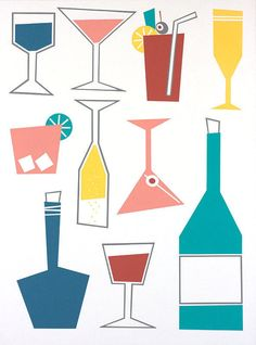 Happy Hour print by artist Kate Zitzer Cocktail Illustration, Retro Illustration, Graphic Design Illustration, Watercolor Illustration, Cocktails Drawing, Wine Poster, Cocktail Book, Ad Art, Graphic Design Posters