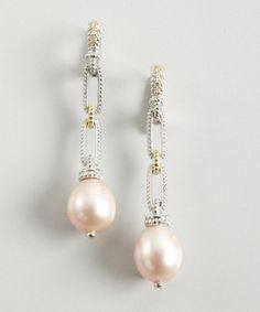 Judith Ripka : diamond and pink pearl chain link drop earrings