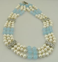 Handmade Elegant and Flowing-Triple Strand Aquamarine, Cultured Pearl and Sterling Silver Necklace by MalibuJewelryArts on Etsy