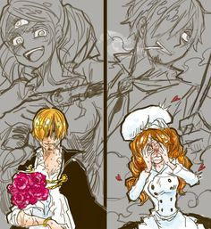 Charlotte Pudding Purin Sanji Vinsmoke One Piece One Piece Manga, Sanji One Piece, One Piece Comic, One Piece Ship, One Piece 1, One Piece Fanart, Otaku, Sanji Vinsmoke, One Piece Pictures