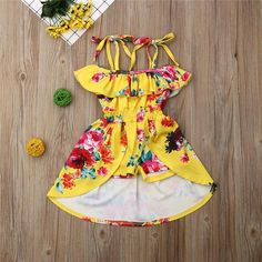 Yellow Floral Sundress Outfit – Tins&Co Sundress Outfit, Floral Sundress, Romper Dress, Toddler Outfits, Kids Outfits, Cute Outfits, Baby Girl Dresses, Baby Dress, Baby Girls
