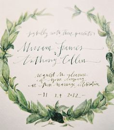Great calligraphy is the key to a simple yet elegant invitation. | The 25 Most Beautifully Illustrated Wedding Invites