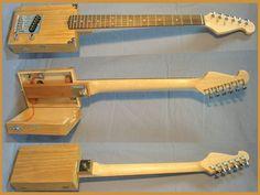 USA Single Pickup Pro Electric 6 String Opening Cigar Box Guitar,mahogany core