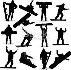 Snowboarding Silhouette stock vector art 19146214 - iStock