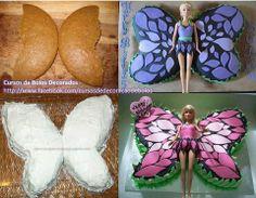 Passo a passo de Bolo Borboleta da Barbie  Faça este lindo bolo em formato de borboleta Barbie, para a festinha da sua gatinha! Ela e todos os convidados vão amar!  Passo a passo: www.facebook.com/ChiquinhaArtesanato