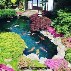 14 Fish Pond Design Ideas Create Your Own Heaven 19 - homegrowmart Japanese Garden Landscape, Japanese Garden Design, Japanese Style, Japanese Koi, Japanese Gardens, Fish Pond Gardens, Koi Fish Pond, Water Gardens, Fish Garden