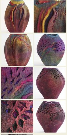 felted vessel with intricate cutouts