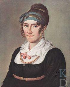 Portret van Eduarda Thalia Eckringa (1786-1865)  By  Theodorus Bohres date: 1800- 1815 ?  TOESCHRIJVING BOHRES: IB/EJW.CAT.TENT. 'REUNIE VAN HET VOORGESLACHT', GRONINGER MUSEUM, 1959,NR. 184. ZW/W FOTO:NEG. GRON.MUS.; KLEURENAFBEELDING UIT: ALBUMMET REPRODUCTIES FAMILIEPORTRETTEN, COLL. MR. A.H. KONING, 1916(IB).MET VLECHT OPGESTOKEN HAAR, BLAUW LINT IN HAAR, GOUDEN OORRINGEN,ZWARTE JAPON MET MODESTIE, ROOD STRIKJE, KRALENKETTING, ROODCEINTUUR MET GESP.