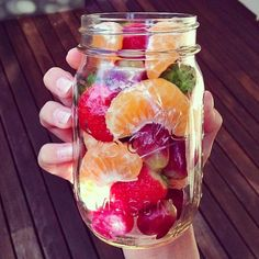 Fruit salad in a jar. Great idea for road trips, picnics, or whenever!