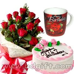 Send Red Roses With Cake Birthday Mug To Bangladesh