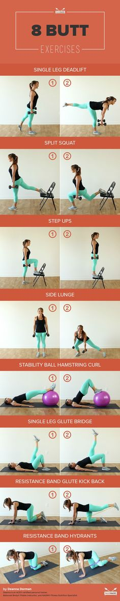 8 Exercises to Tone Your Butt That Aren't Squats- key word ARENT SQUATS.... This girl can't do squats