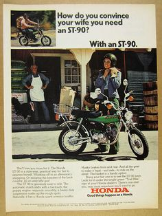 1974 Honda ST-90 ST90 Motorcycle trail bike color photo vintage print Ad FOR SALE • $9.99 • See Photos! Money Back Guarantee. Original print advertisement from 1974 (not a reprint or reproduction, all of our items are originals). Condition Grade: VG Size: 8 x 10 3/4 inches Packaging: Item packed flat in 142276556592