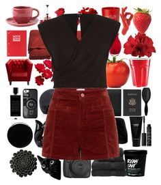 """""""Black and red"""" by juliehalloran ❤ liked on Polyvore featuring Casetify, Deborah Lippmann, Saks Fifth Avenue Collection, DAY Birger et Mikkelsen, Dot & Bo, Woven Workz, Royce Leather, Yves Saint Laurent, H&M and Witchery"""