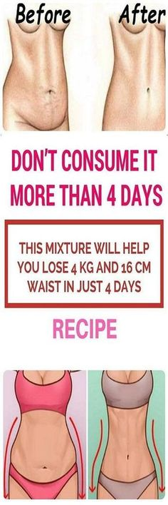 DON'T USE THIS MORE THAN 4 DAYS! THIS MIX OF INGREDIENTS WILL HELP YOU LOSE 4 KG AND 16 CM WAIST IN JUST 4 DAYS