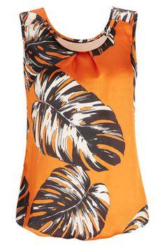 Orange Palm Print Blouse