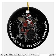 "This cool and creepy drum ornament features a scary skeleton Santa behind a drum kit, with caption ""Have yourself a merry METAL Christmas"" - perfect gift for rockers and metal heads! Check out www.drumjunkiegraphics.com for more great drummer merch and musician gifts - all designed by a drummer! #drummerchristmas #musicianchristmas #rockandrollchristmas #punk #metalhead #drumjunkie"