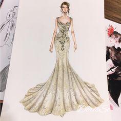 "4,982 Beğenme, 18 Yorum - Instagram'da Eris Tran (@eris_tran): ""Couture wedding dress for my client. ❤️❤️❤️❤️❤️ #sketch #sketching #draw #dress #drawing #bridal…"""