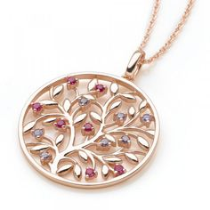 Sacred Grove #Chain A #fantastical tree of life in coppery rose #goldplate over #silver, bearing succulent fruits of faux #ruby and #cubic zirconia. Show stopping with a plunging #neckline.