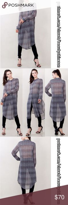 The Griselda Long Sheer Plaid Tunic Gray plaid sheer chiffon button down tunic with high slits on each side. Beautiful & elegant. See last pic for details & size chart. Per PM & my closet, all sales are final. Please ask questions, if not in description, prior to purchase. Per PM & my closet, all sales are final. My goal is making customers happy with 5⭐️service! Tops Tunics