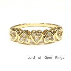 $419 Diamond Wedding Band For Women Anniversary Ring 14K Yellow Gold Unique 5 Hearts Shaped Bezel Set
