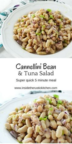 White Bean Salad Cannellini bean and tuna salad. Super simple, 5 minute meal that is so delicious, perfect for summer.Cannellini bean and tuna salad. Super simple, 5 minute meal that is so delicious, perfect for summer. Healthy Side Dishes, Good Healthy Recipes, Healthy Foods To Eat, Healthy Cooking, Healthy Eating, Healthy Nutrition, Tuna Recipes, Seafood Recipes, Salad Recipes