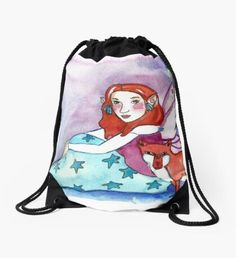 Fairy and a Fox Drawstring Bag Winter Fairy, Green Palette, Winter Solstice, Winter Landscape, Christmas Art, Winter Time, Whimsical, Fox, Girly