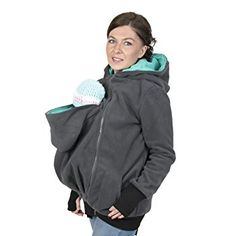 3in1 Maternity Polar Fleece Hoodie for Baby Carriers Graphite/teal (4XL/5XL 18/20)