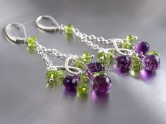 Gemstone jewelry chandelier earrings Amethyst Peridot earrings sterling silver - wire wrapped purple grape violet lilac lime green - Domani