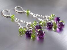 loving these handmade amethyst and peridot chandelier earrings $97