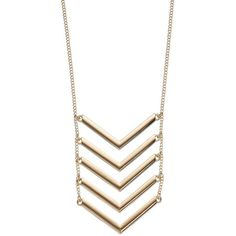 Apt. 9® Chevron Ladder Necklace ($12) ❤ liked on Polyvore featuring jewelry, necklaces, gold, yellow gold jewelry, stackers jewelry, chevron necklace, chevron jewelry and gold tone necklace