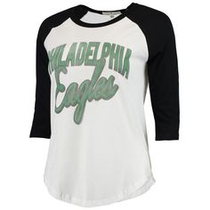Philadelphia Eagles Women's Play Action Vintage 3/4-Sleeve Raglan T-Shirt - White/Black
