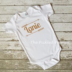 Personalized Monogram Gold Glitter Sparkle Arrow Name 1st Birthday Baby Onesie Bodysuit T- Shirt Top Outfit babies toddler girl cake smash by ThePickledPeanut on Etsy