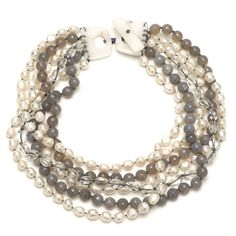 Multi Strand White Pearl, Blue Agate and Crystal on White Jade Necklace Main Image