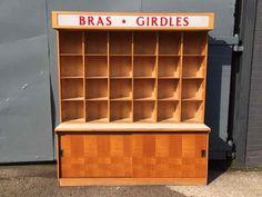 Storage : Vintage Oak Haberdashery Shop Fitting with Pigeon Holes